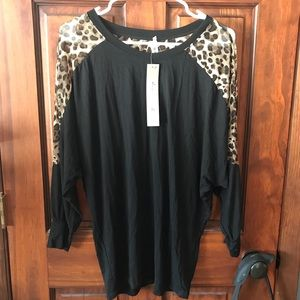 Tops - Black and leopard shirt